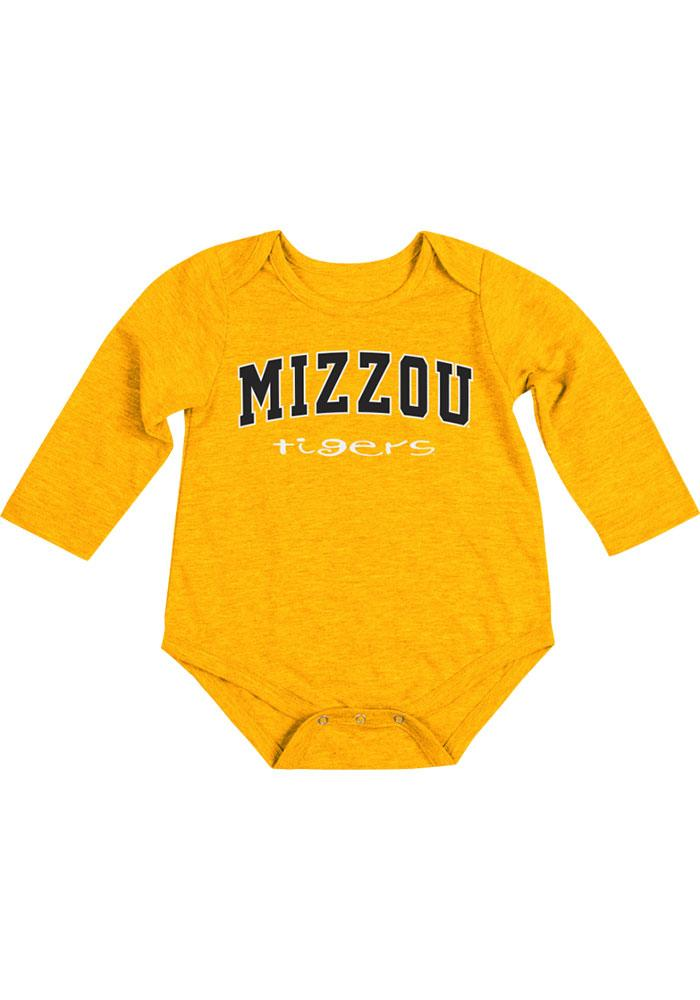 Colosseum Missouri Tigers Baby Gold Rally Loud Long Sleeve One Piece - Image 1