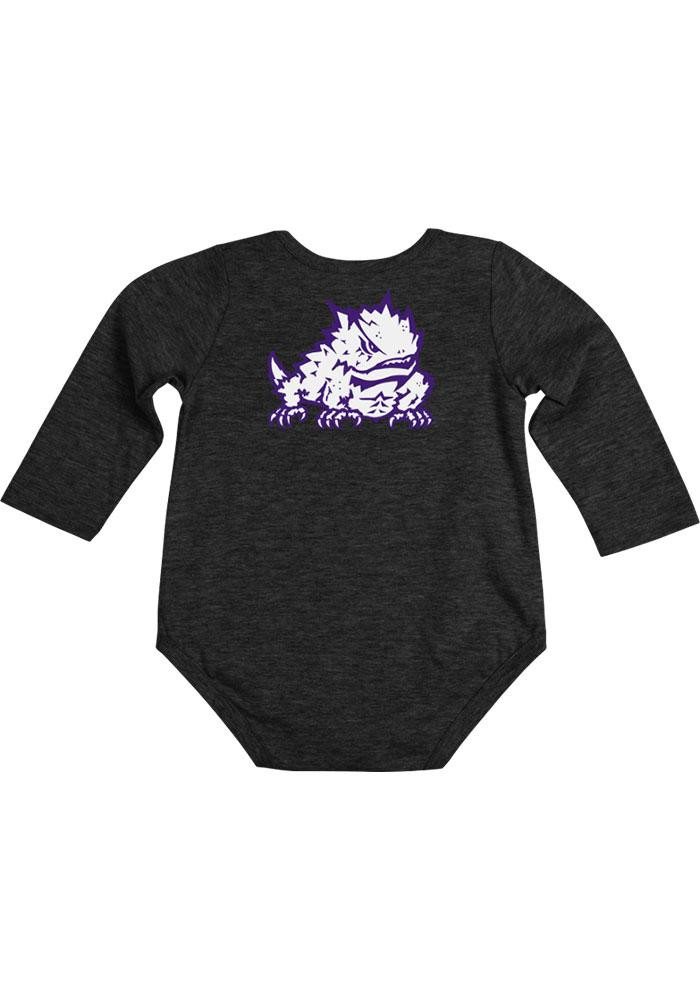 Colosseum TCU Horned Frogs Baby Black Rally Loud Long Sleeve Creeper - Image 1