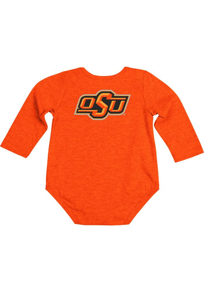 Colosseum Oklahoma State Cowboys Baby Orange Rally Loud Long Sleeve Creeper - Image 1