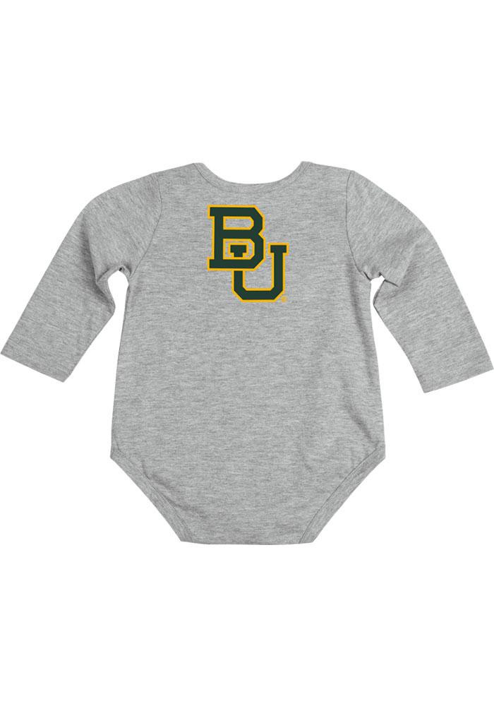 Colosseum Baylor Bears Baby Grey Rally Loud Long Sleeve Creeper - Image 1