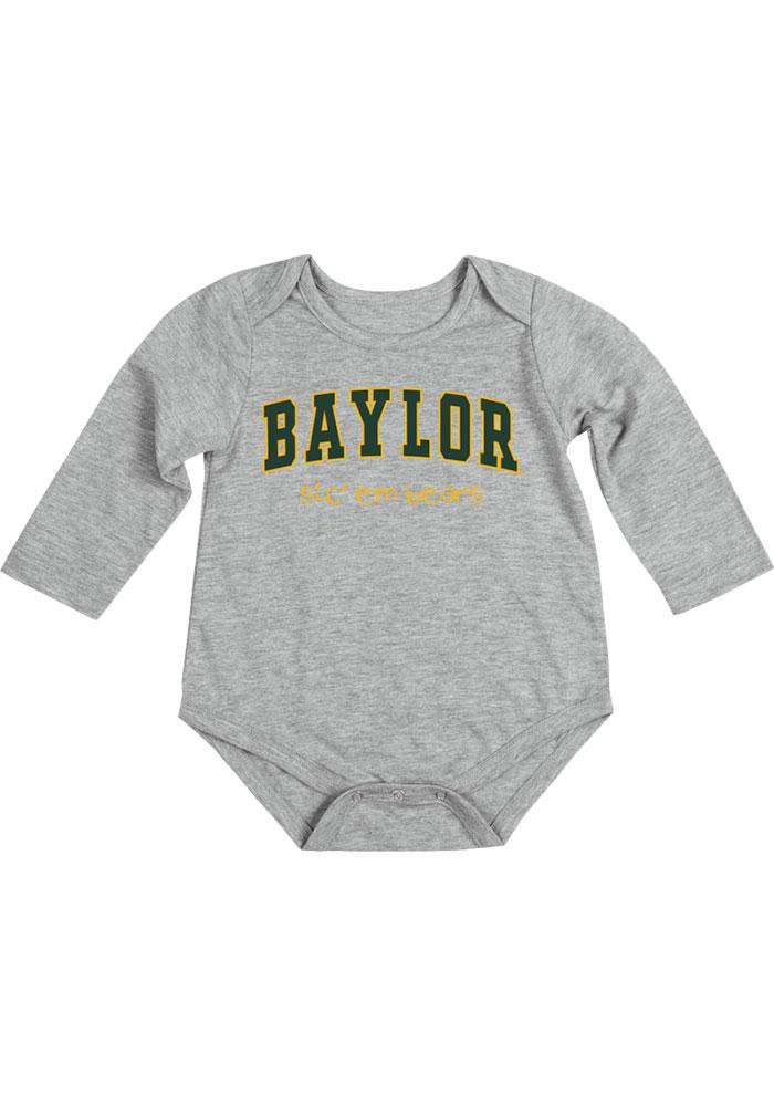 Colosseum Baylor Bears Baby Grey Rally Loud Long Sleeve Creeper - Image 2