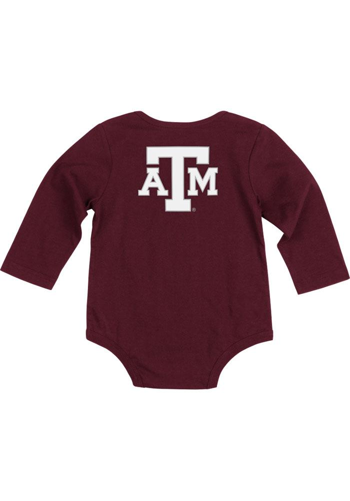 Colosseum Texas A&M Aggies Baby Maroon Rally Loud Long Sleeve Creeper - Image 1