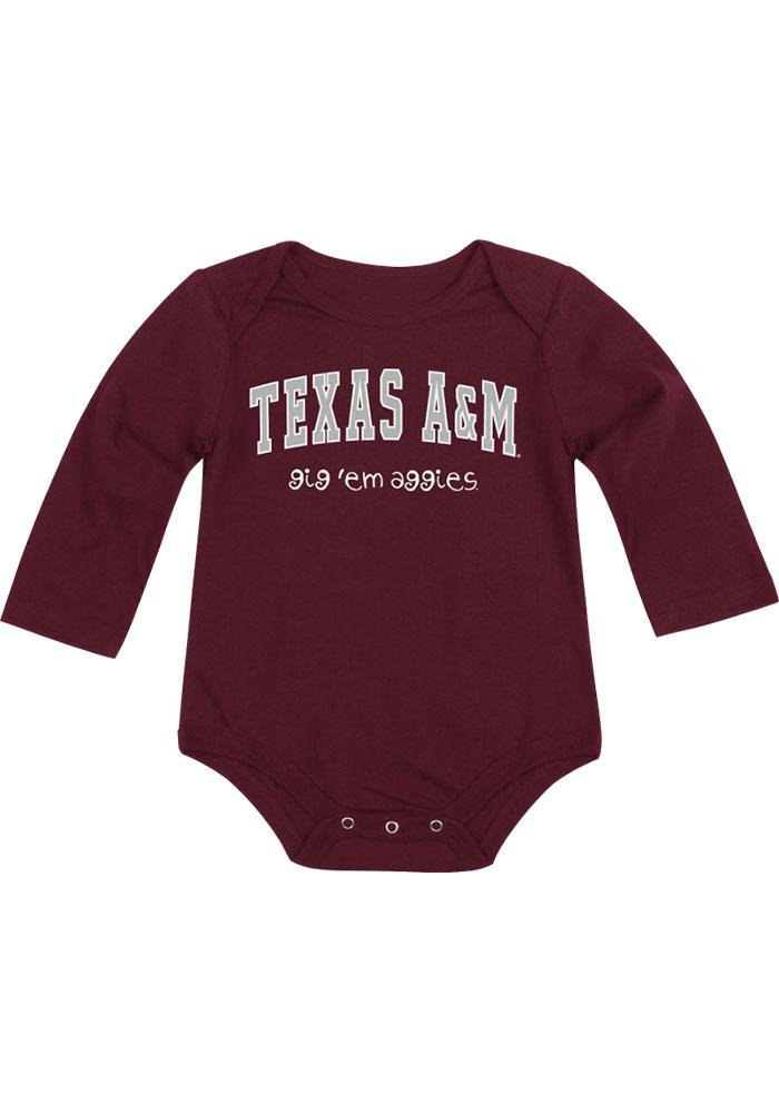 Colosseum Texas A&M Aggies Baby Maroon Rally Loud Long Sleeve Creeper - Image 2