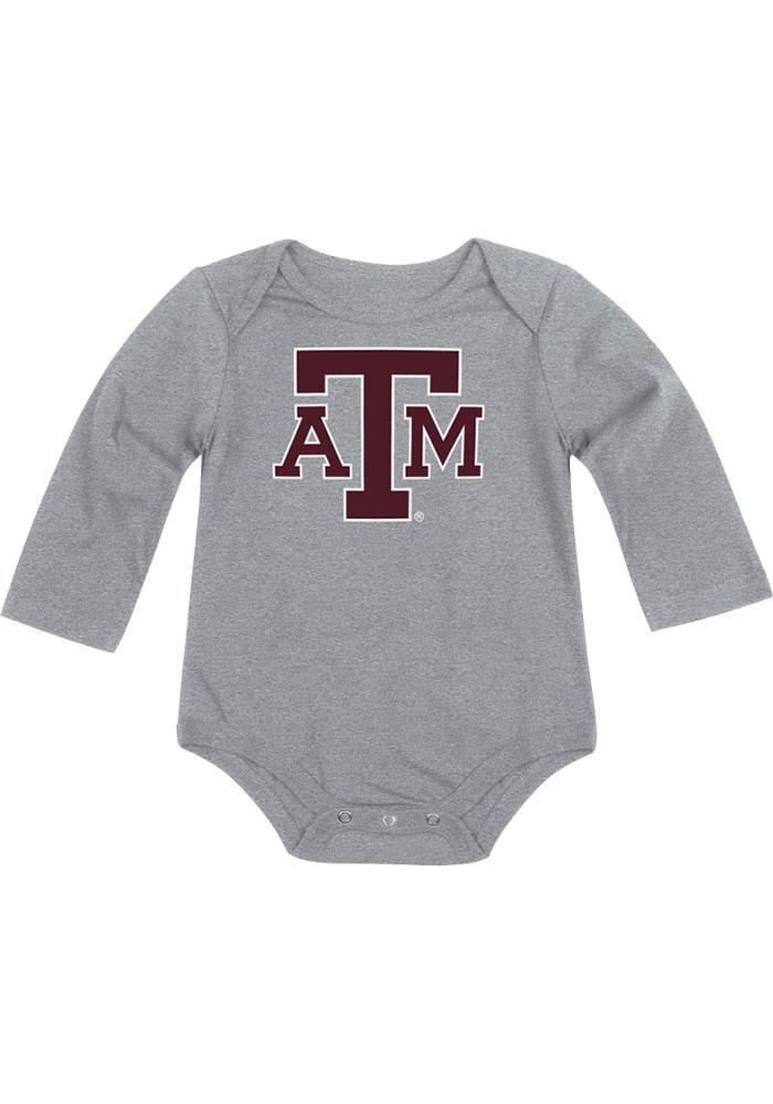 Colosseum Texas A&M Aggies Baby Grey Big Logo Long Sleeve One Piece - Image 1