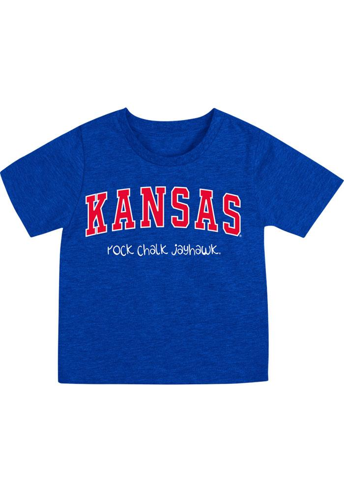 Colosseum Kansas Jayhawks Infant Arch Rally Loud Short Sleeve T-Shirt Blue - Image 1