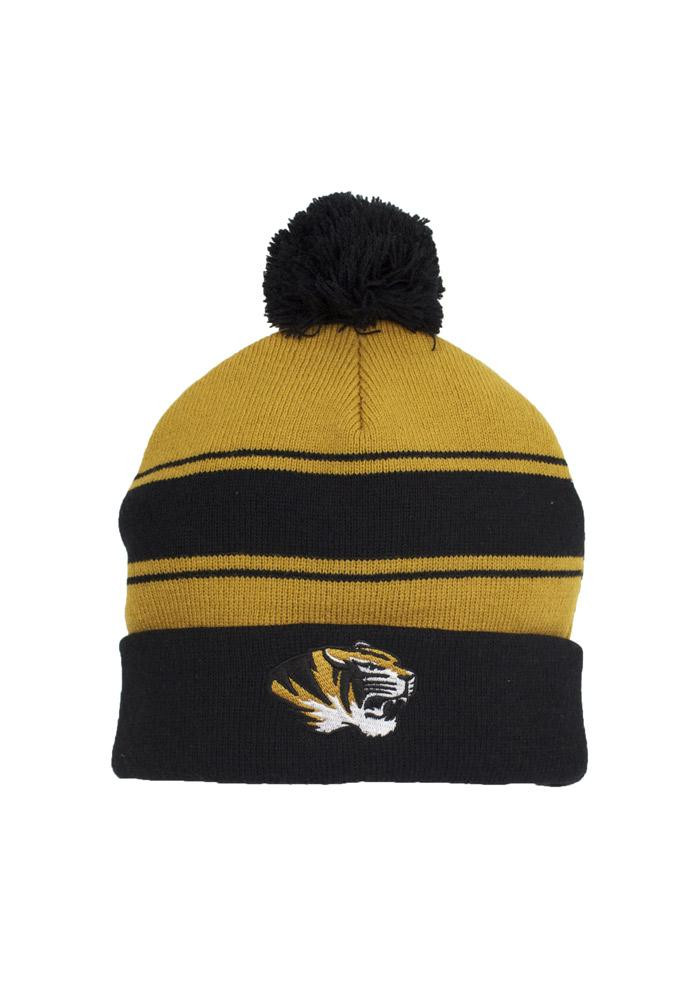 Missouri Tigers Gold Varsity Stripe Mens Knit Hat - Image 2