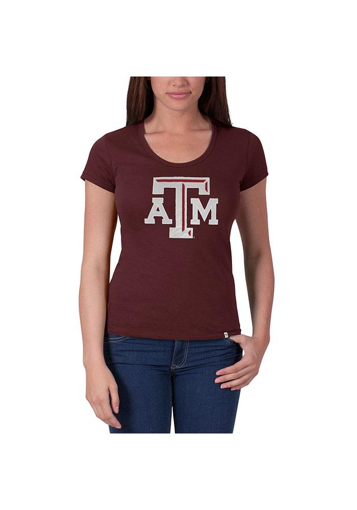 47 Texas A&M Aggies Juniors Maroon Knockout Scoop T-Shirt - Image 1