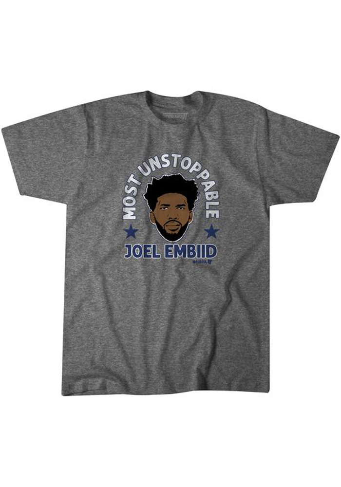 Joel Embiid Grey Most Unstoppable Short Sleeve Fashion Player T Shirt - Image 1