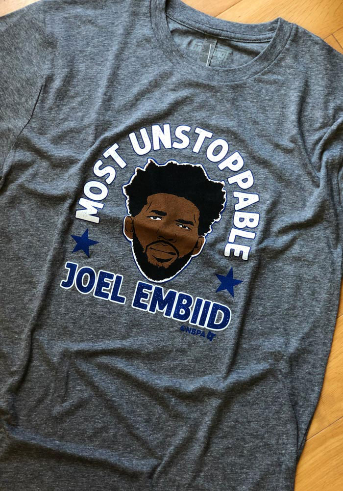 Joel Embiid Grey Most Unstoppable Short Sleeve Fashion Player T Shirt - Image 2