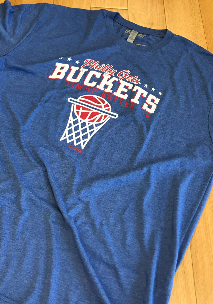 new york 4cb8b cc322 Jimmy Butler Blue Philly Gets Buckets Short Sleeve Fashion Player T Shirt