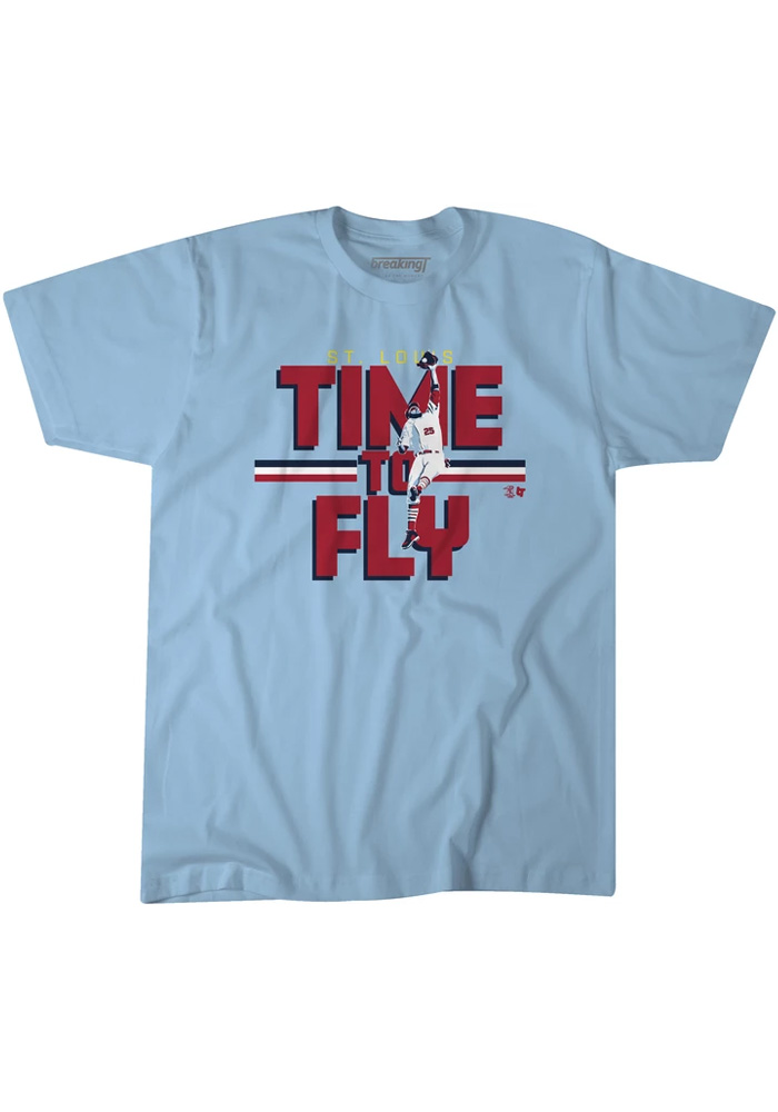 Dexter Fowler St Louis Light Blue Time To Fly Short Sleeve Fashion Player T Shirt - Image 1