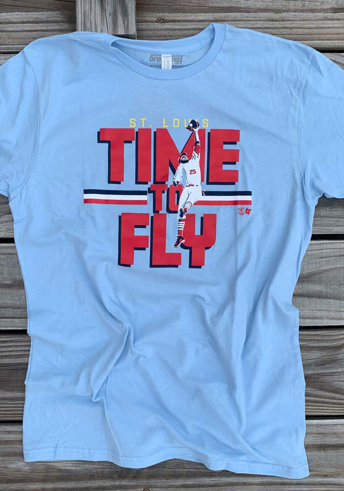 Dexter Fowler St Louis Light Blue Time To Fly Short Sleeve Fashion Player T Shirt - Image 2