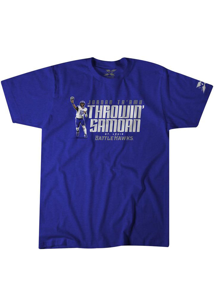 BreakingT St Louis Battlehawks Blue Throwin Samoan Short Sleeve Fashion T Shirt - Image 1