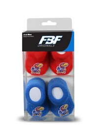 Kansas Jayhawks Baby 2 Pack Team Color Bootie Boxed Set - Blue