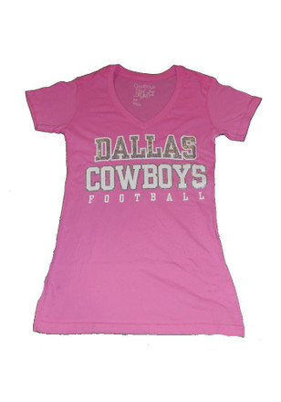 Cowboys Womens Pink Practice Glitter V-Neck