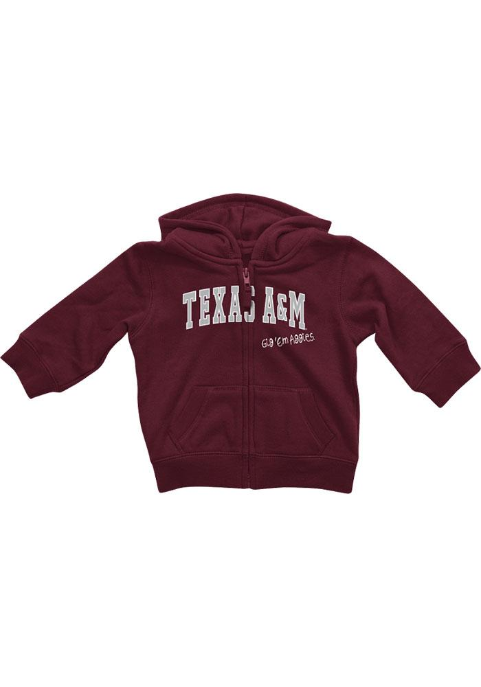 Colosseum Texas A&M Aggies Baby Rally Loud Long Sleeve Full Zip Sweatshirt - Maroon - Image 3