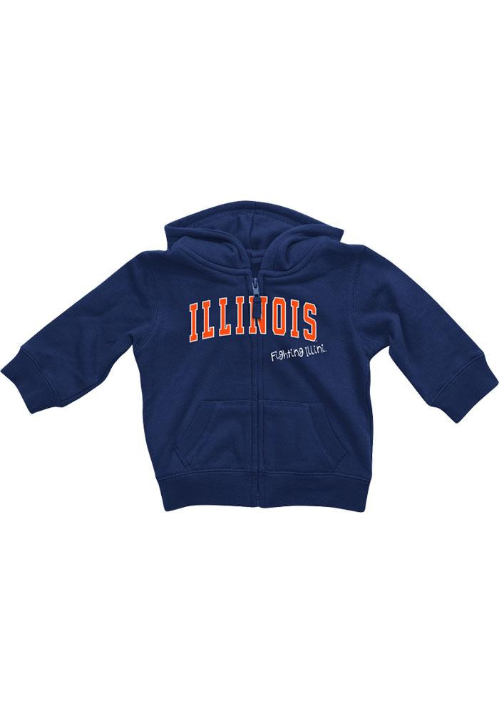 Colosseum Illinois Fighting Illini Baby Navy Blue Rally Loud Long Sleeve Full Zip Jacket - Image 2
