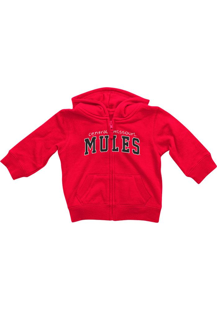 Colosseum Central Missouri Mules Baby Rally Loud Long Sleeve Full Zip Sweatshirt - Red - Image 3