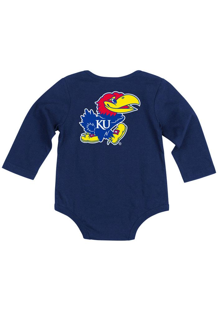 Colosseum Kansas Jayhawks Baby Navy Blue Rally Long Sleeve Creeper - Image 1