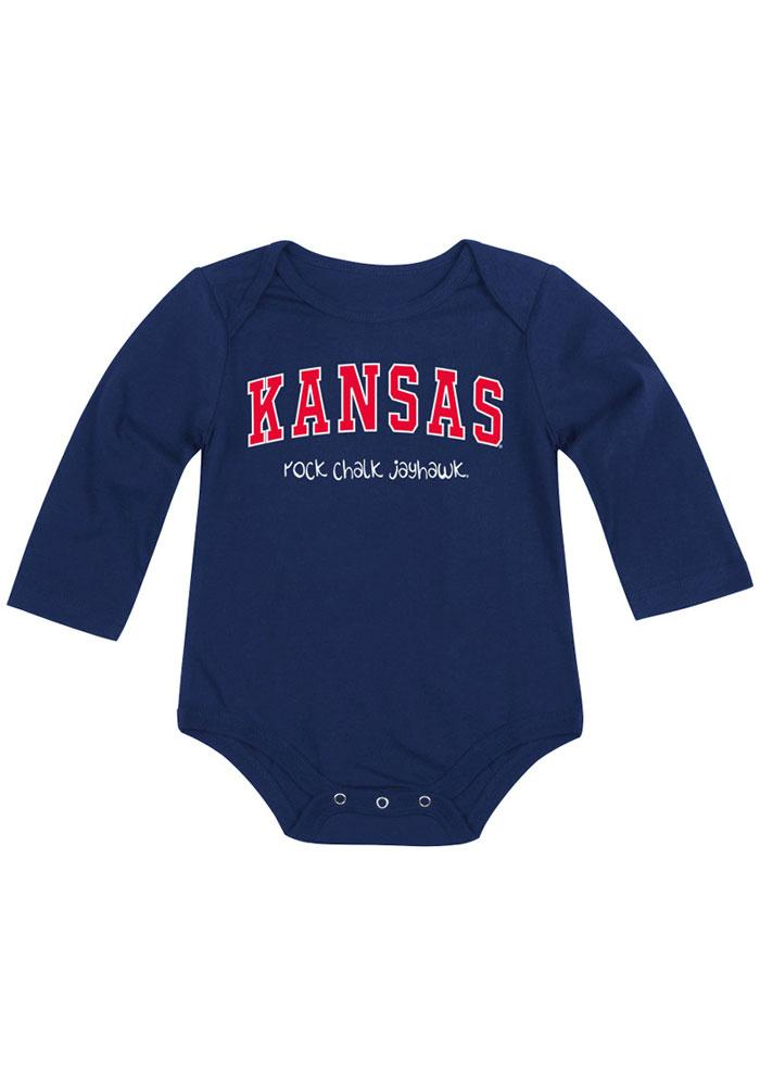 Colosseum Kansas Jayhawks Baby Navy Blue Rally Long Sleeve Creeper - Image 2
