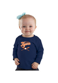 Detroit Tigers Baby Navy Blue Infant Crossed Bat T-Shirt