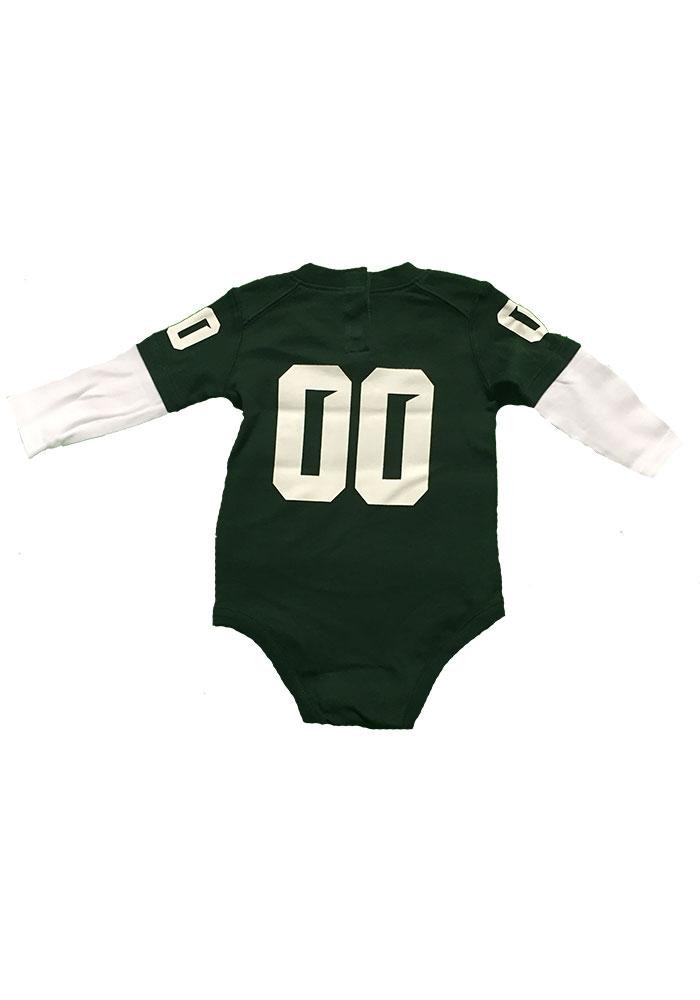 Michigan State Spartans Baby Green Football Long Sleeve Creeper - Image 2