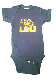 LSU Tigers Baby Purple Embroidered Logo One Piece