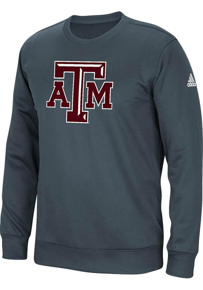 Adidas Texas A&M Aggies Mens Charcoal Tech Long Sleeve Sweatshirt - Image 1