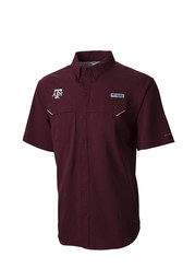 Columbia Texas A&M Mens Maroon Low Drag Off Shore Dress Shirt