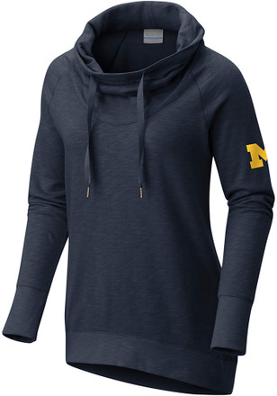 Columbia Michigan Wolverines Womens Navy Blue Down Time Hoodie