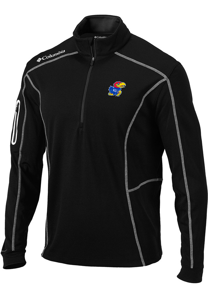 Columbia Kansas Jayhawks Mens Black Shotgun Long Sleeve 1/4 Zip Pullover - Image 1