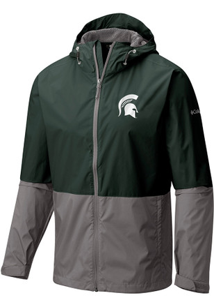 Columbia Michigan State Spartans Mens Green Roan Mountain Light Weight Jacket
