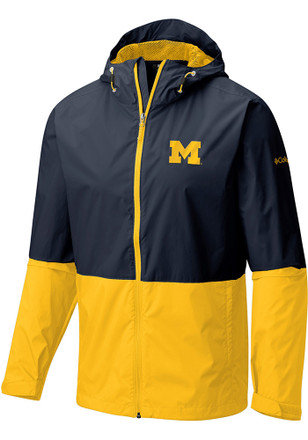 Columbia Michigan Wolverines Mens Navy Blue Roan Mountain Light Weight Jacket