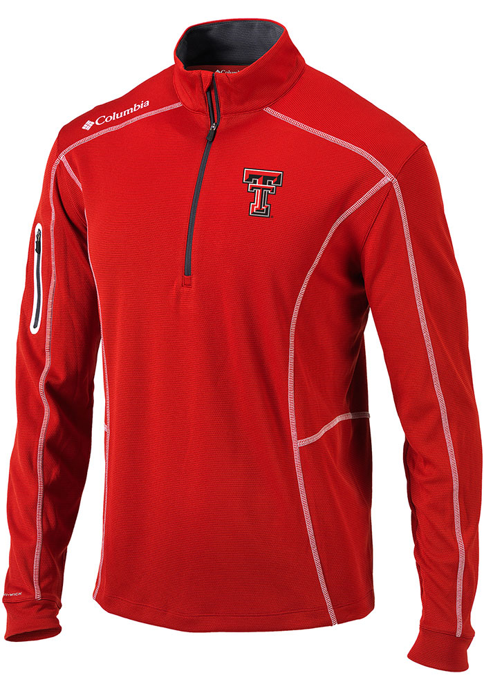 Columbia Texas Tech Red Raiders Mens Red Shotgun Long Sleeve 1/4 Zip Pullover - Image 1