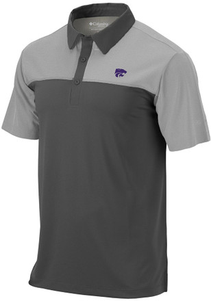 Columbia K-State Wildcats Mens Grey Front Nine Short Sleeve Polo Shirt