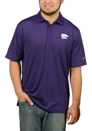 Columbia K-State Wildcats Mens Purple Sunday Short Sleeve Polo Shirt