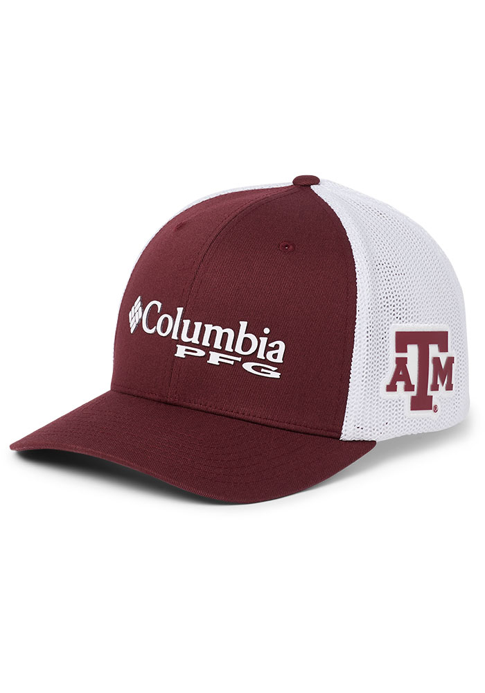 Columbia Texas A&M Aggies Mens Maroon CLG PFG Mesh Flex Hat - Image 1