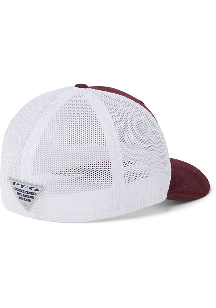 Columbia Texas A&M Aggies Mens Maroon CLG PFG Mesh Flex Hat - Image 2