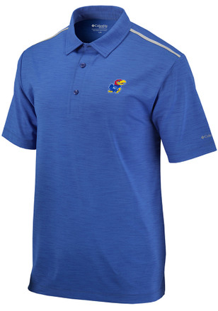 Columbia Kansas Jayhawks Mens Blue Alignment Short Sleeve Polo Shirt