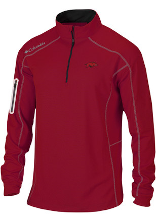 Columbia Arkansas Razorbacks Mens Red Shotgun 1/4 Zip Pullover