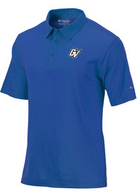 Columbia Grand Valley State Lakers Blue Sunday Short Sleeve Polo Shirt