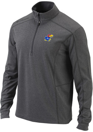 Columbia Kansas Jayhawks Mens Grey Shotgun 1/4 Zip Pullover