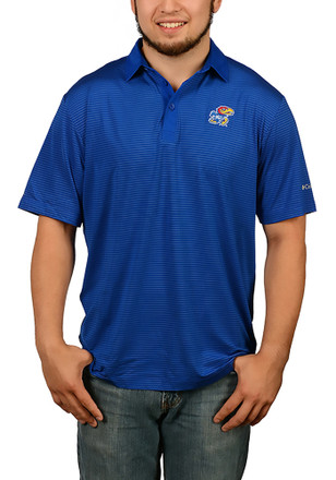 Columbia Kansas Jayhawks Mens Blue Sunday Short Sleeve Polo Shirt