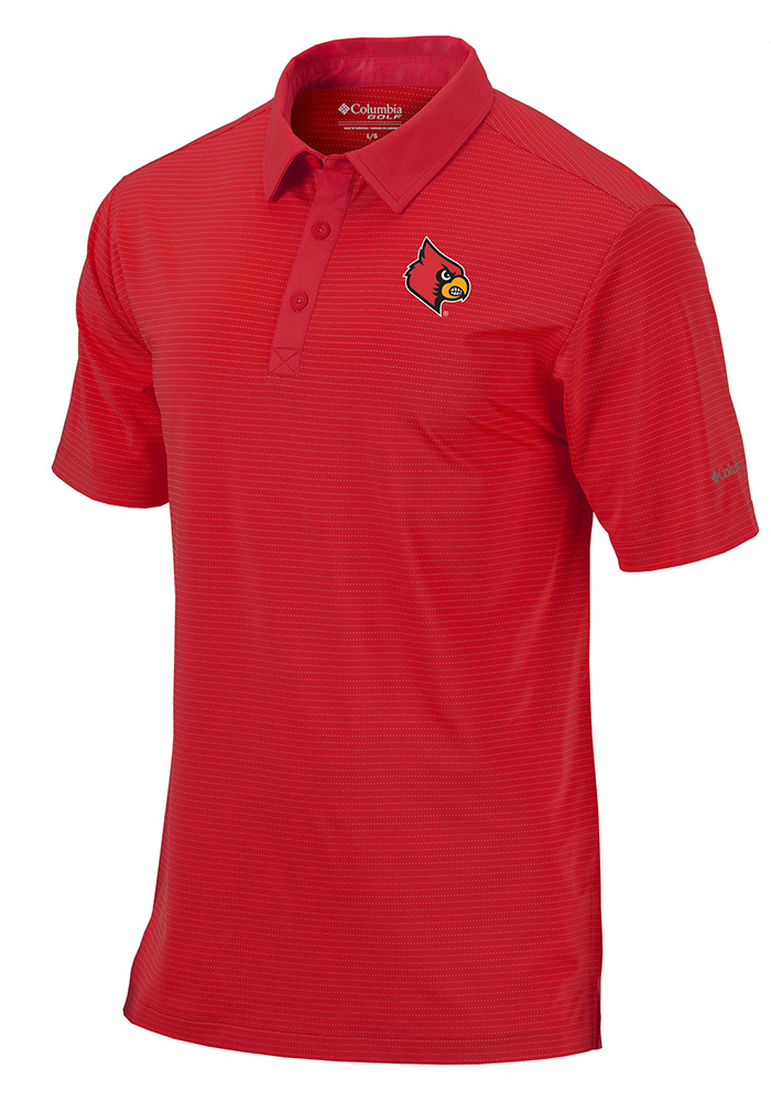 Columbia Louisville Cardinals Mens Red Sunday Short Sleeve Polo - Image 1