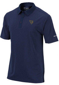 Columbia West Virginia Mountaineers Navy Blue Sunday Short Sleeve Polo Shirt