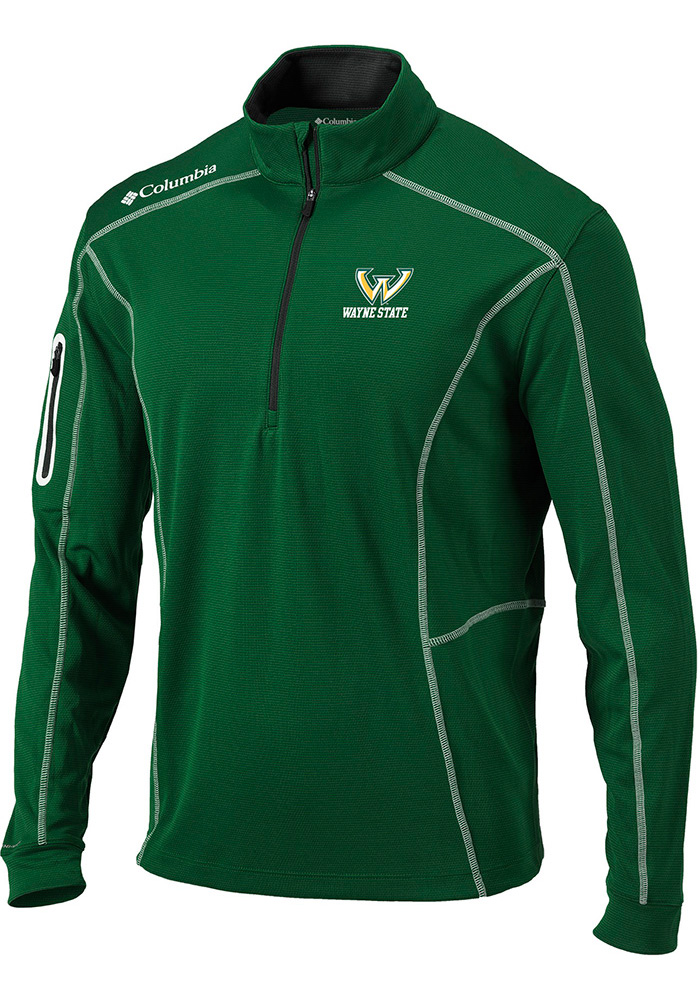 Columbia Wayne State Warriors Mens Green Shotgun Long Sleeve 1/4 Zip Pullover - Image 1