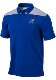 Columbia Kansas Jayhawks Blue Utility Short Sleeve Polo Shirt