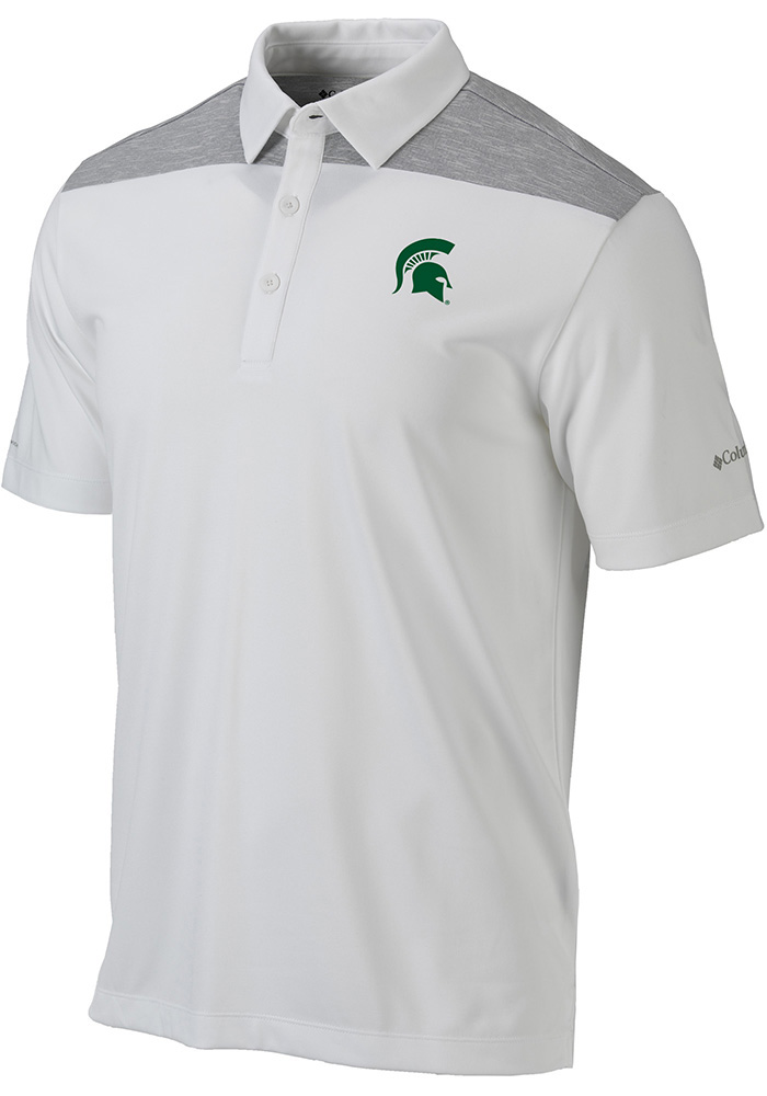 Columbia Michigan State Spartans Mens White Utility Short Sleeve Polo - Image 1