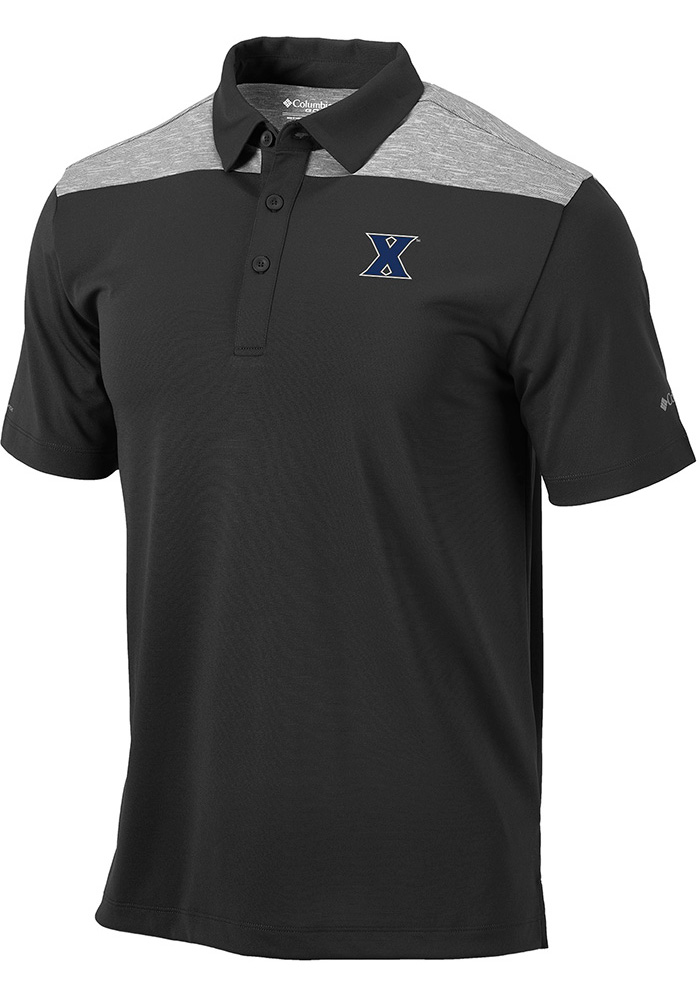 Columbia Xavier Musketeers Mens Charcoal Utility Short Sleeve Polo - Image 1