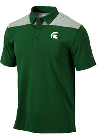 Columbia Michigan State Spartans Green Utility Short Sleeve Polo Shirt